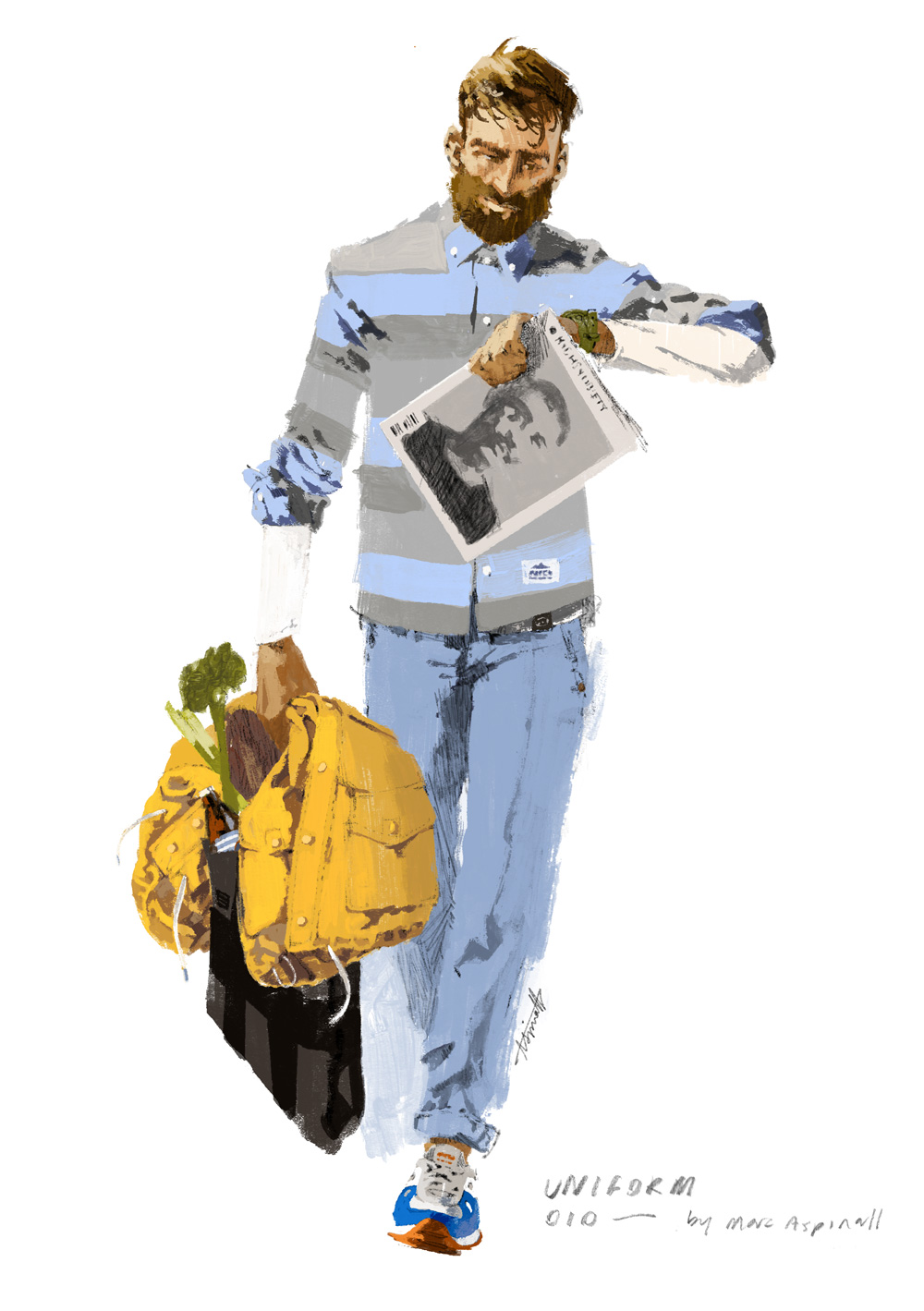 Lifestyle Illustration, featuring Penfield, Saucony, Carhartt, BLK Pine and High Snobiety for Fusshop by Marc Aspinall