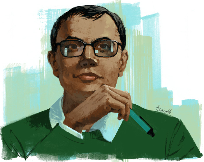 Demis Hassabis portrait by Marc Aspinall