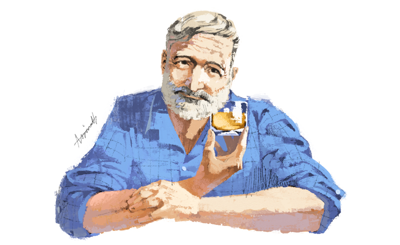Earnest Hemmingway portrait for Privatair by Marc Aspinall