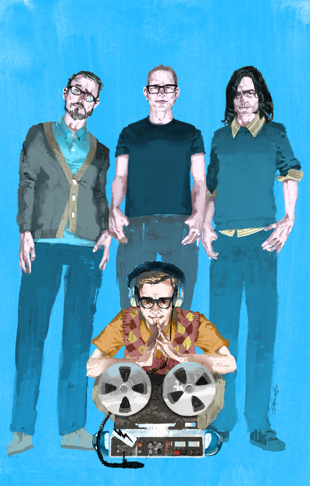Weezer Portrait for Rolling Stone Magazine by Marc Aspinall