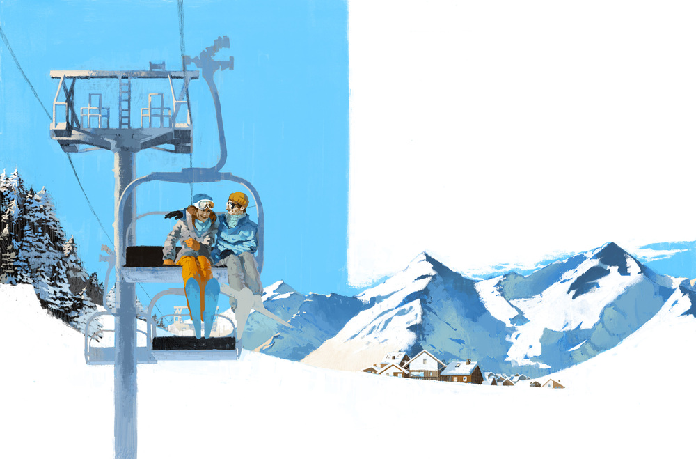 Couple embrace on the ski lift traversing the mountains of Morzine for German Wings by Marc Aspinall