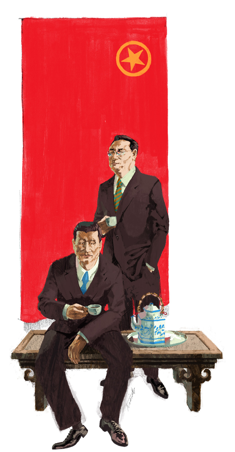 Xi Jinping and Li Keqiang pose for portrait for Trust Magazine by Marc Aspinall