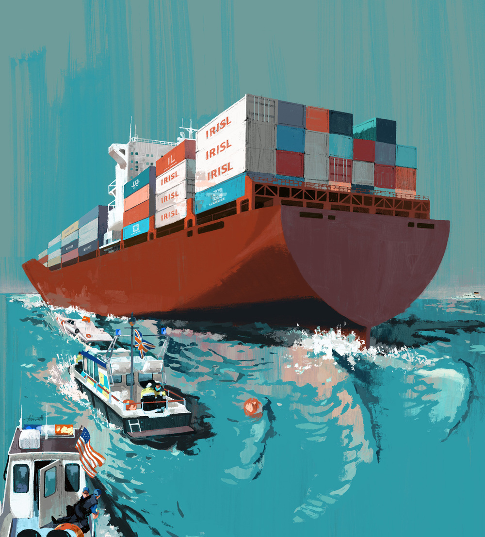 Sanctions in Iran depicted on the waters for Ethisphere Magazine by Marc Aspinall