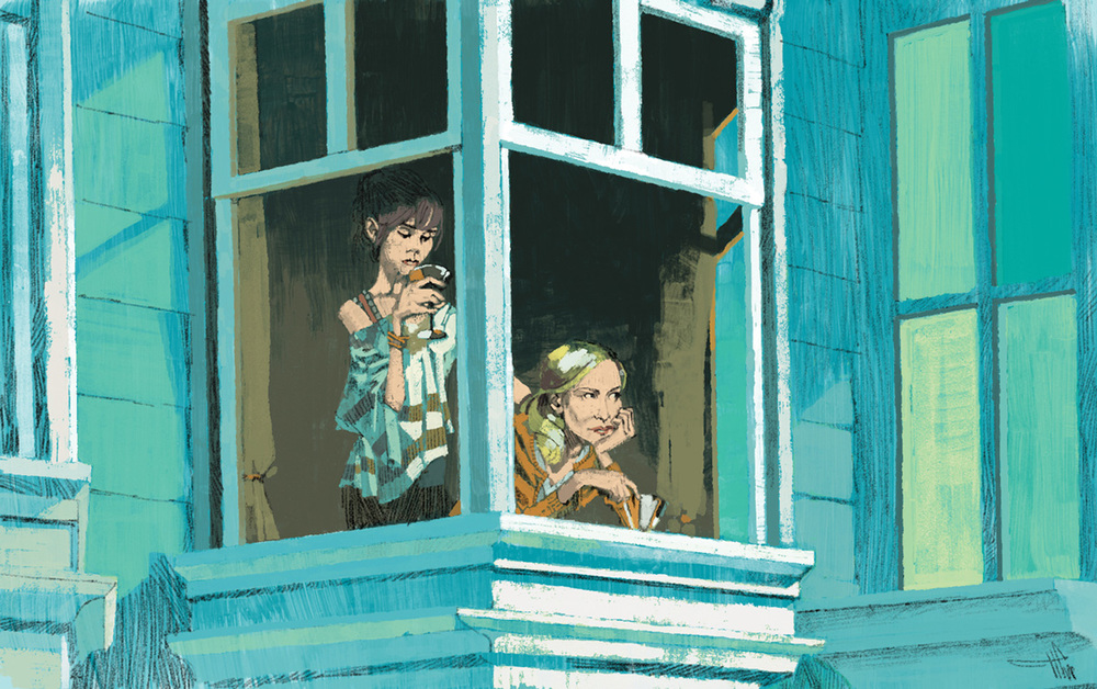 Cate Blanchett and Sally Hawkins in Woody Allen's hit Blue Jasmine for The New Yorker by Marc Aspinall