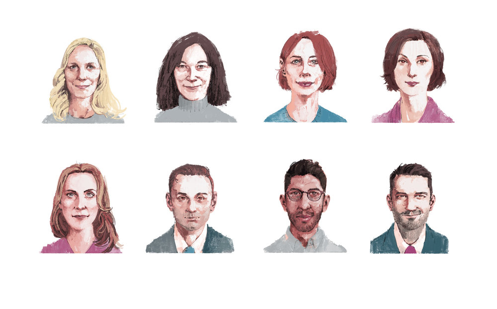 Columnist Portraits for The Telegraph by Marc Aspinall