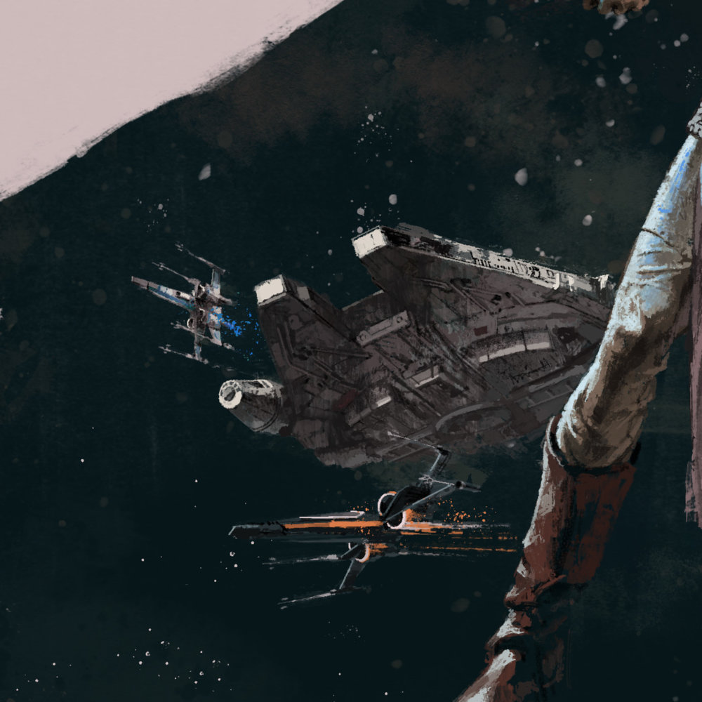 Millennium Falcon, X-Wings in Star Wars The Last Jedi for Birth Movies Death Magazine by Marc Aspinall
