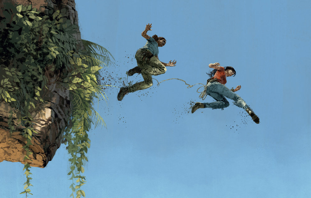Nadine and Chloe crossing the Western Ghats for Uncharted The Lost Legacy Vinyl artwork for Iam8bit by Marc Aspinall