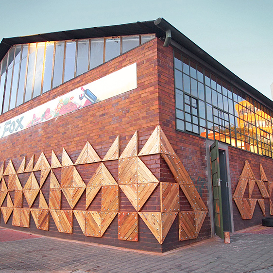 BETTY FOX, Johannesburg  Transforming the facade of a reconverted warehouse with local artists