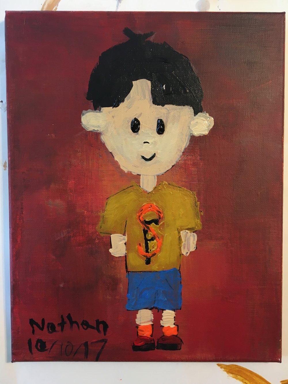 Acrylic paint, age 7