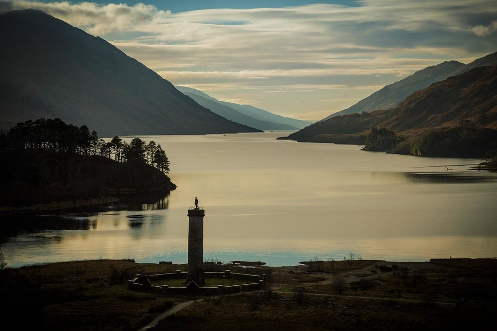 Glenfinnan monument and Loch Shiel.  Mercedes Canada.