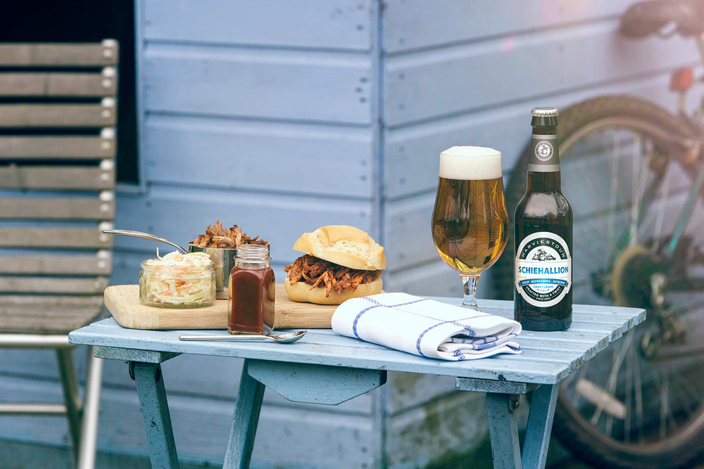 Pulled pork and Schiehallion food matching . Harviestoun Brewery.