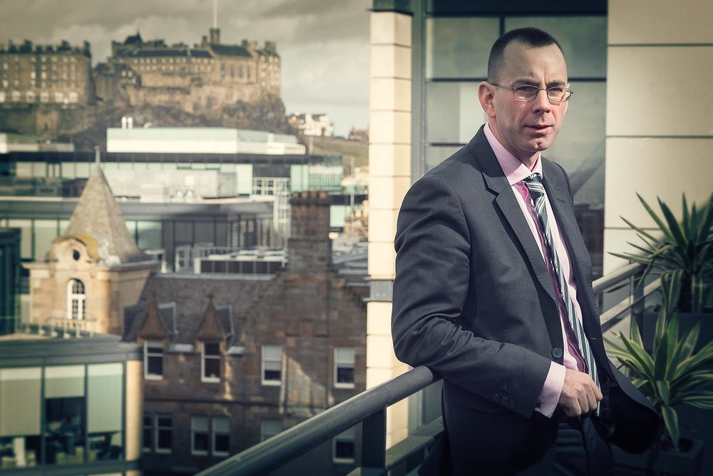Corporate Portrait - Nigel Moss and Edinburgh Castle . The CA.