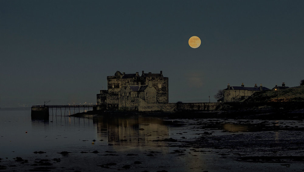 Full moon over Blackness Castle.