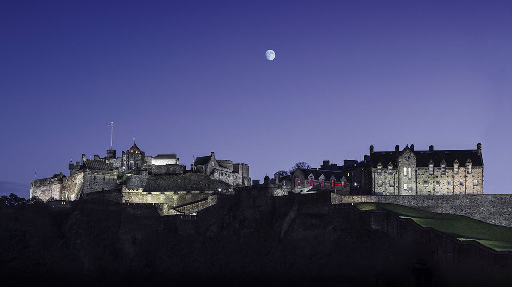 Edinburgh Castle and moon  for Morris Property Tax.