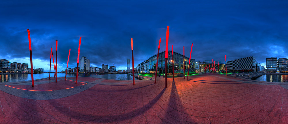 Re-developed canal basin, Dublin, 360 degree pano.