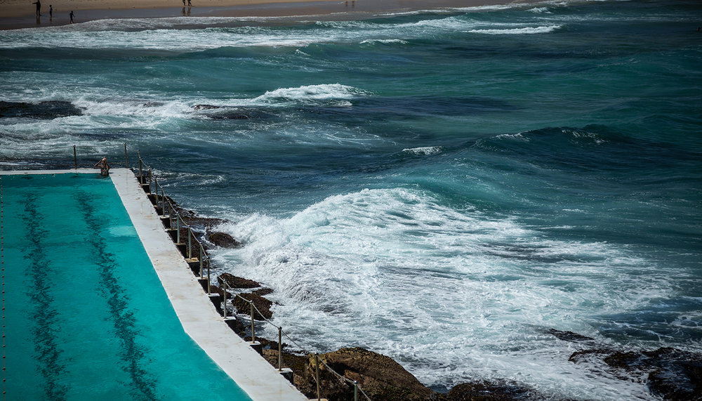 Lone Swimmer, Bondi.  This ocean side pool is home to the year-round Iceburgs club.