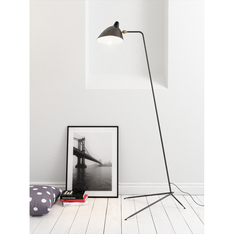1 arm floor lamp from Serge Mouille.