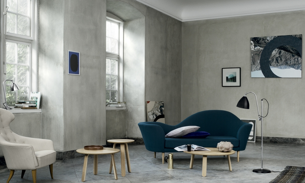 Grand Piano Sofa and Paper side tables by Gubi