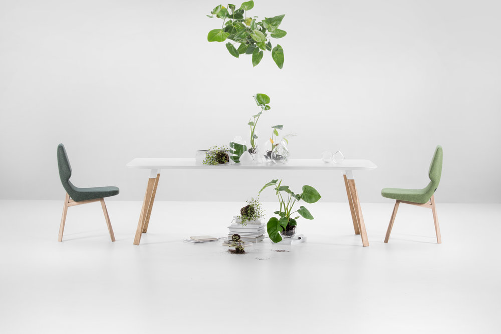 Oblique table and Oblique chair from Prostoria