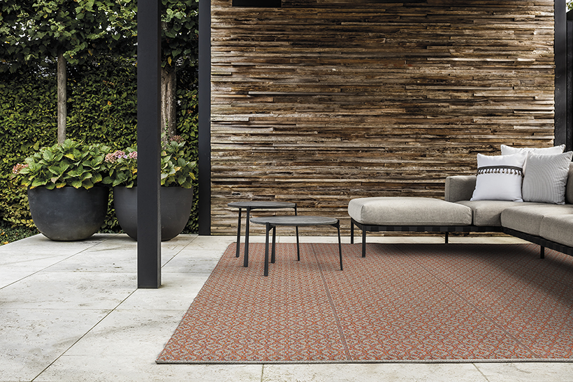 Terrazza Flame outdoor area rug from Limited Edition