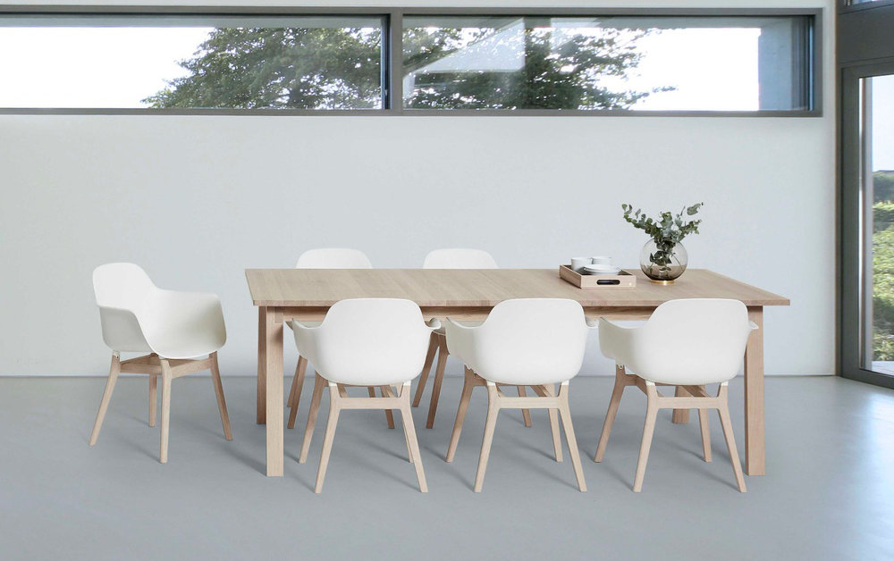 NEW! TAC armchair -  oak leg with seat/back in plastic -  $433 LIST