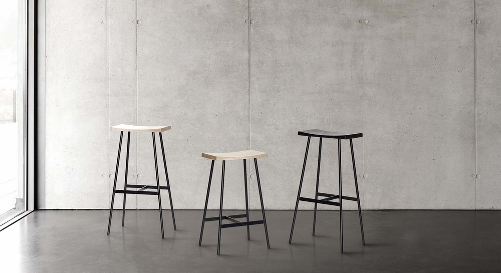 NEW! HC2 barstool - seat in oak or black lacquer - $380 LIST