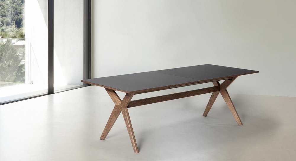 NEW!   T2  table -  White laminate top with oak base - $4,335 LIST