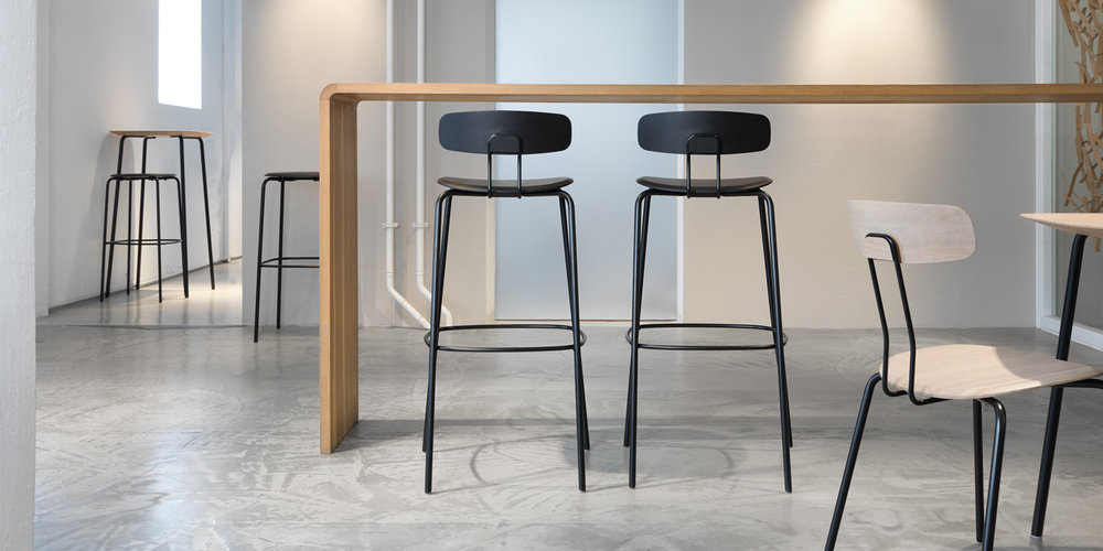Zeitraum Okito chair and Okito barstool