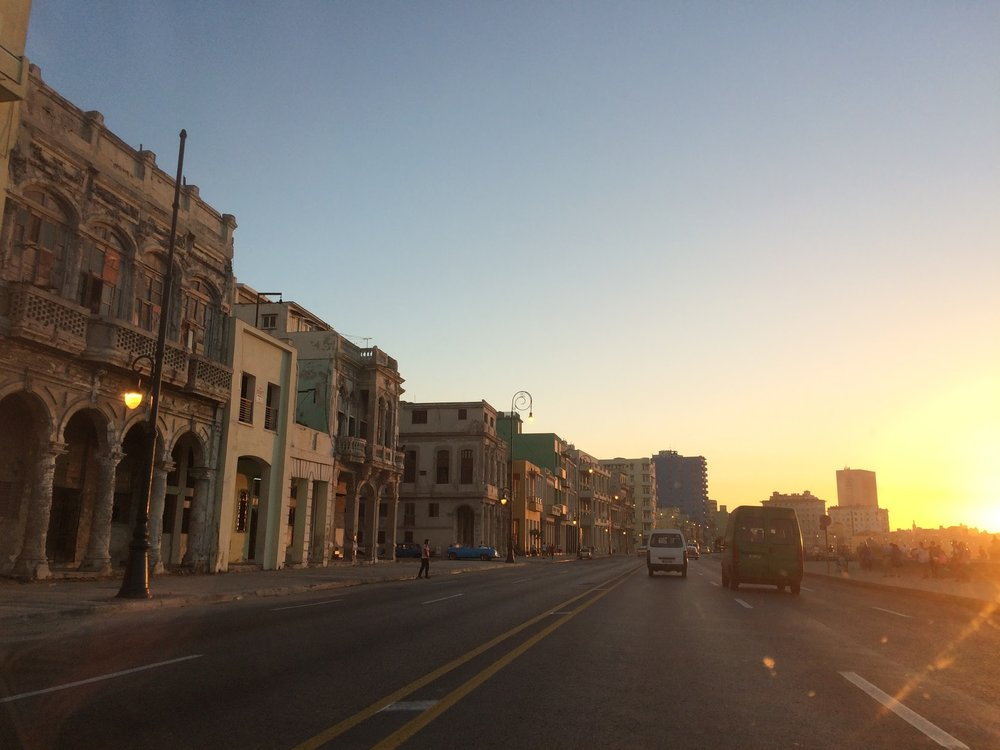Driving down the Malecon at sunset.