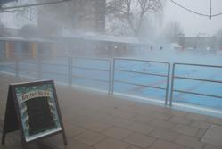 Swimming in London Fields Lido, very steamy in the snow