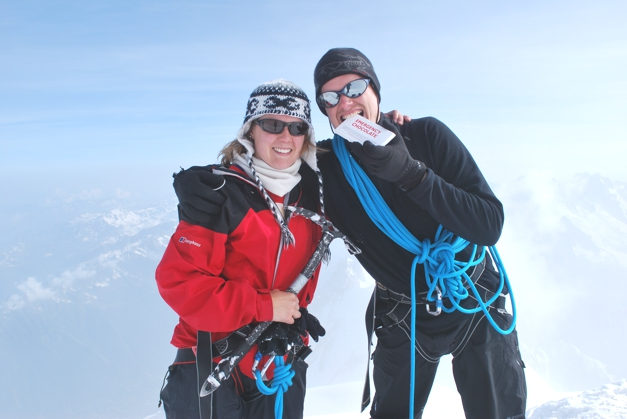 Summit of Mont Blanc with 'Emergency Chocolate'!