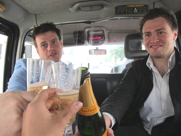 Champagne in the taxi