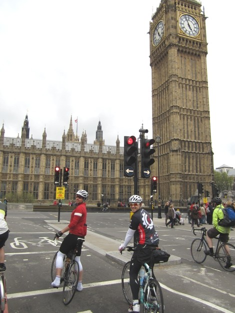 Cycling past Big Ben on the way out of town