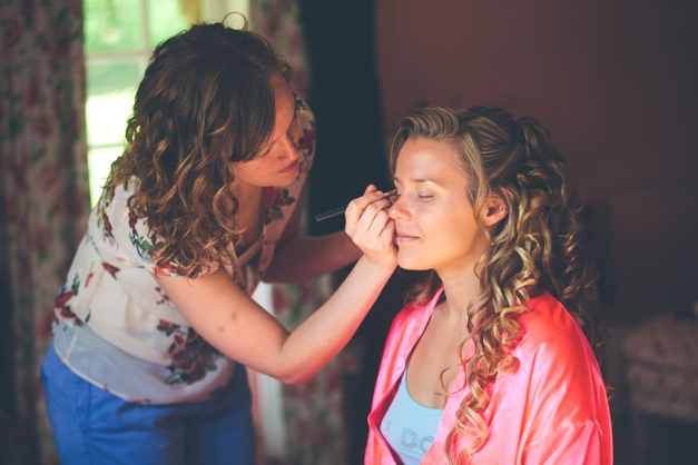Maid of Honour Faye doing my makeup