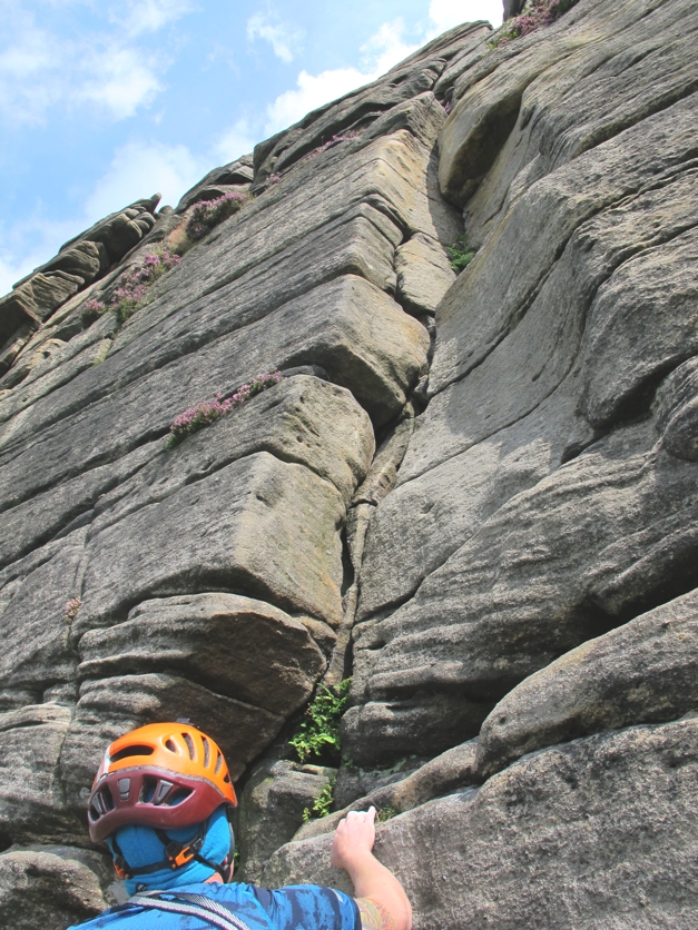 Rock climbing on Stanage