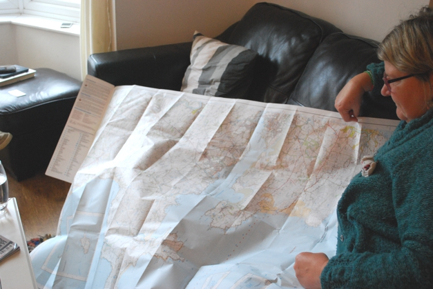 Mum showing me the cycle route on the map