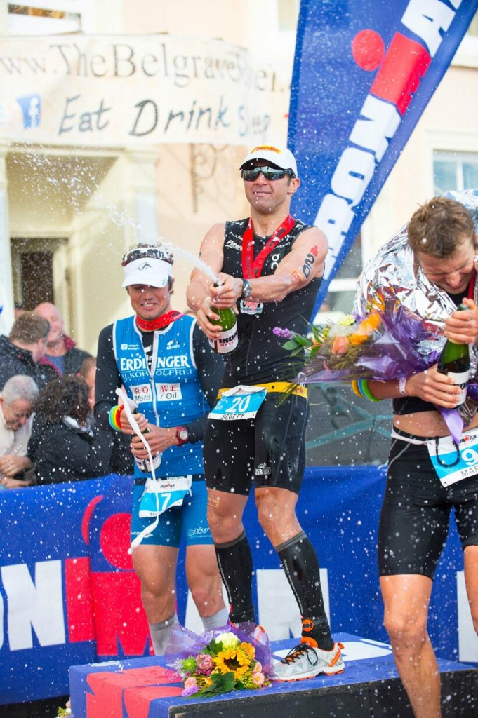 Double Ironman Champion on Podium a IM Wales