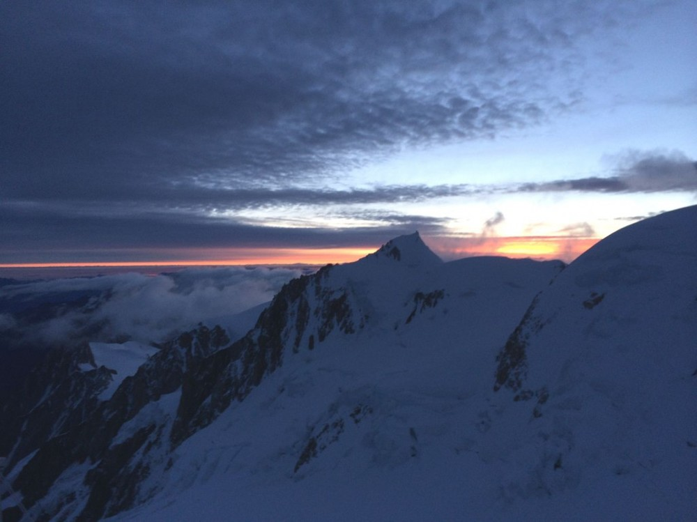 Dawn high on Mont Blanc, Gouter Route