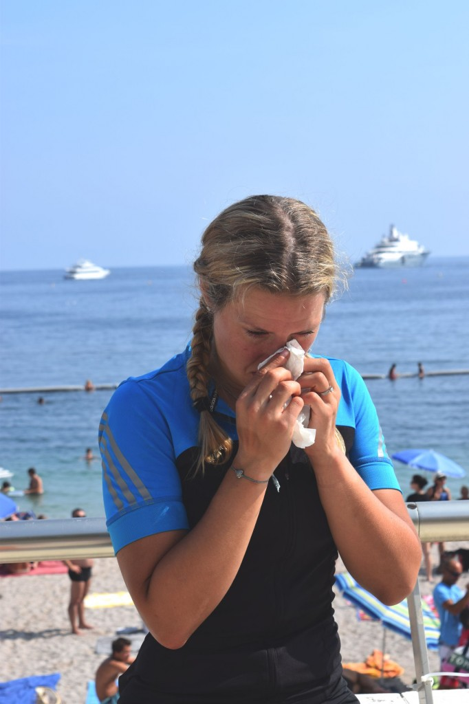 At the finish line in Monaco, The Alpine Coast to Coast Challenge Sophie