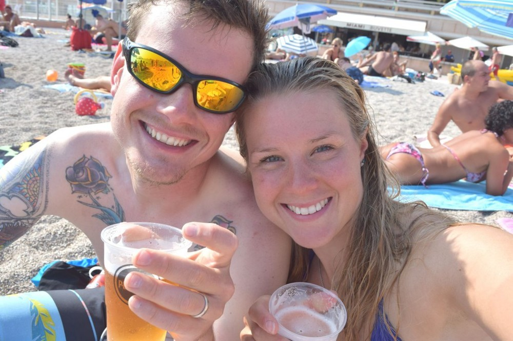 Celebratory beer on the beach in Monaco