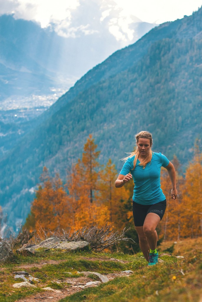 Sophie Radcliffe Trail running in Chamonix