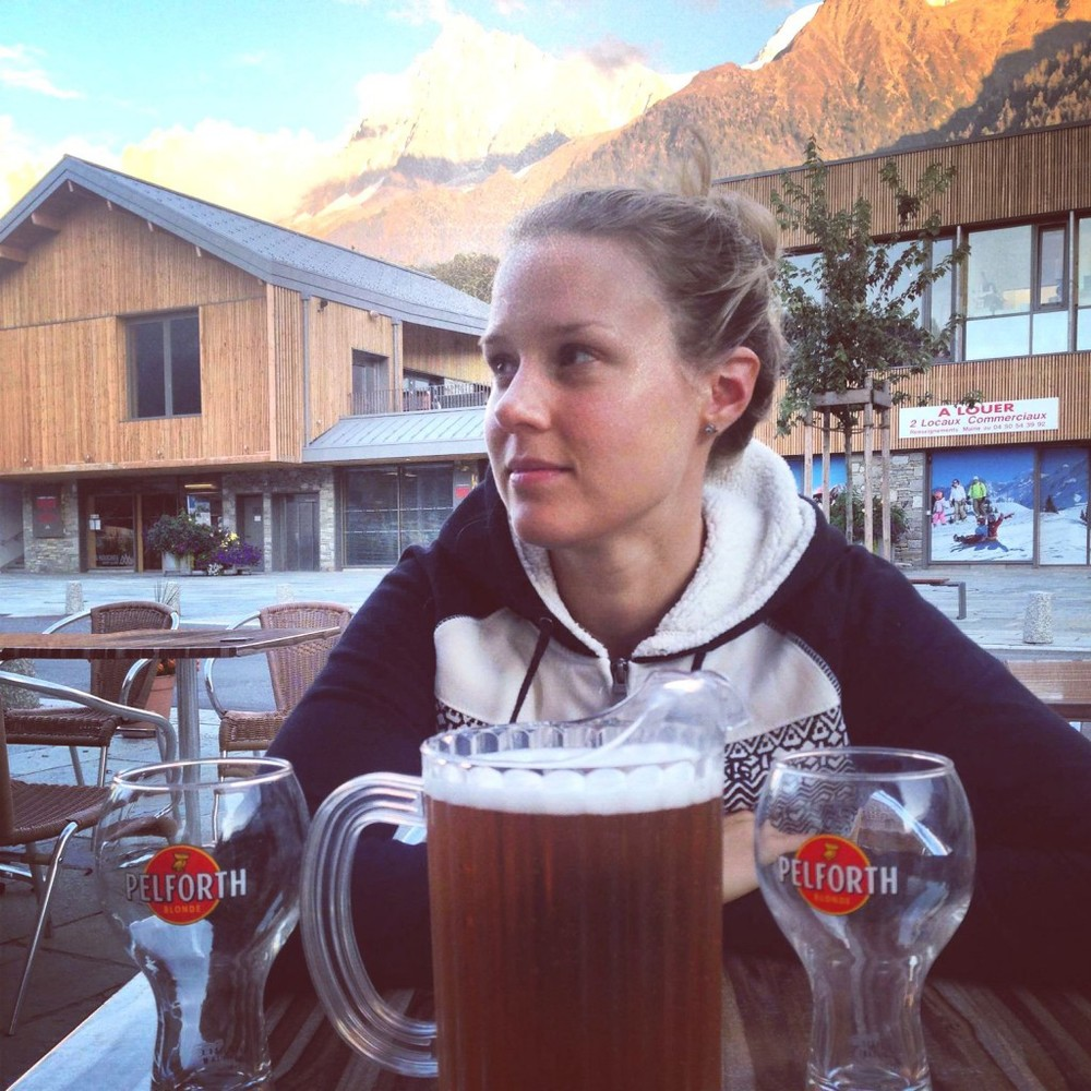 Sophie Radcliffe drinking beer in Chamonix