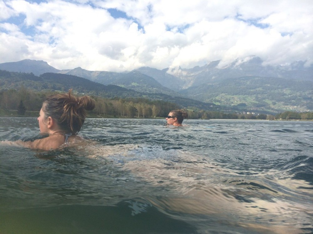 Sophie Radcliffe swimming in Lake Passy, Chamonix