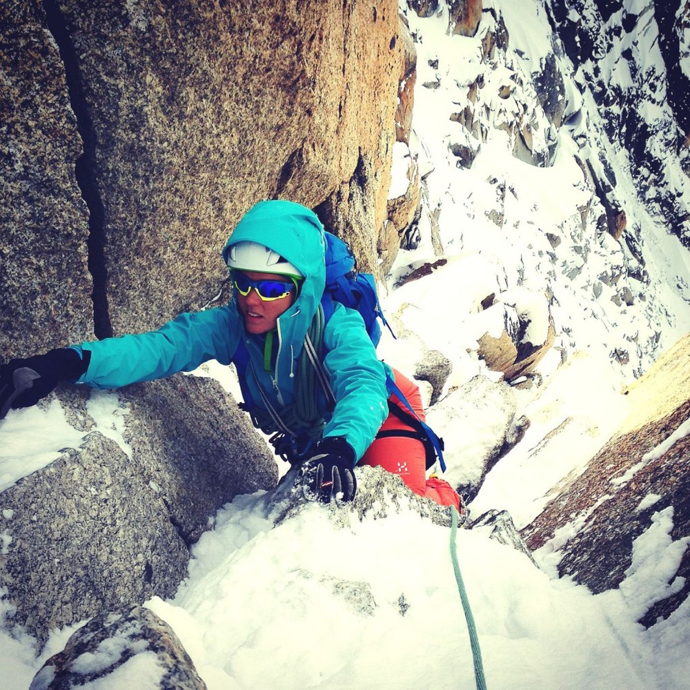 Sophie Radcliffe climbing Cosmiques Arete in Chamonix