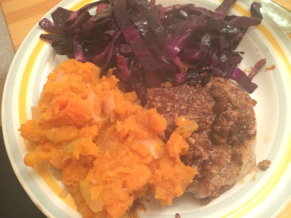 winter warmer, sweet potato with red cabbage and pork