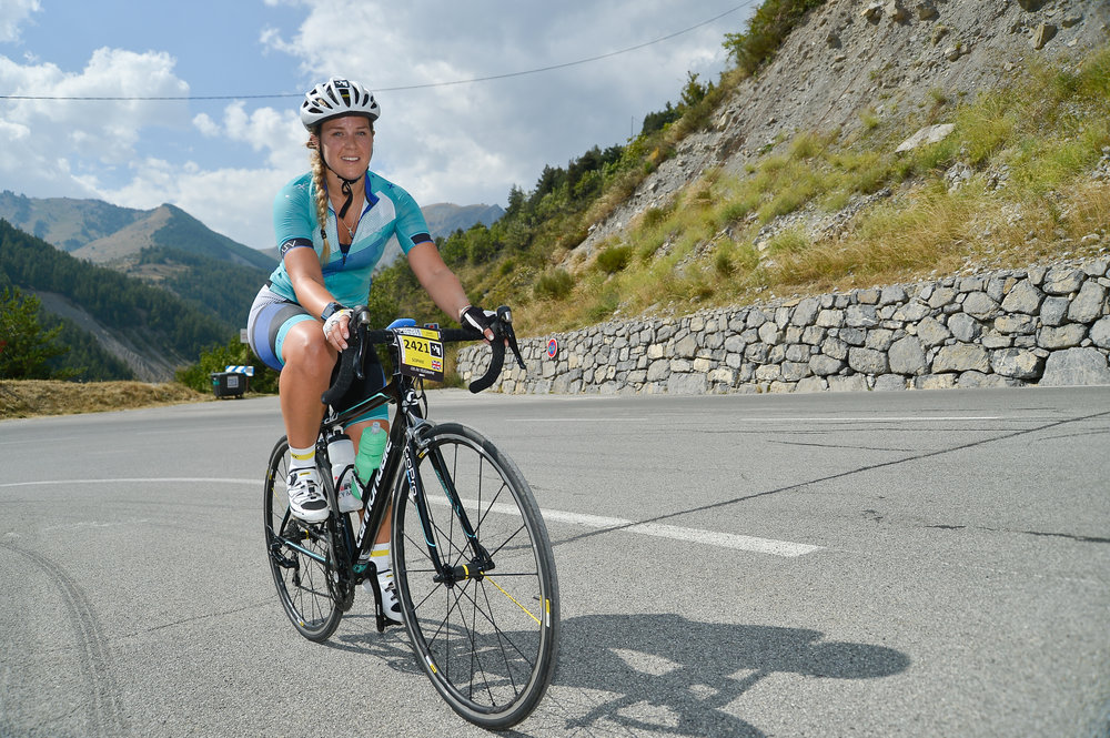 Sophie Radcliffe Cycling The Haute Route. Challenge Sophie