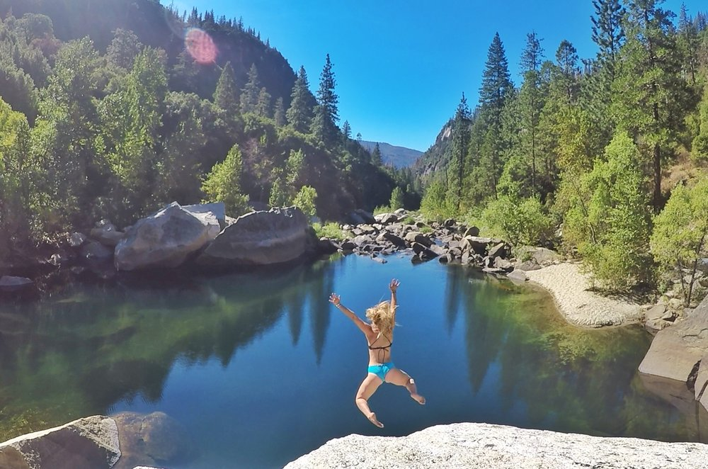 Rock jumping and playing in rivers in Yosemite