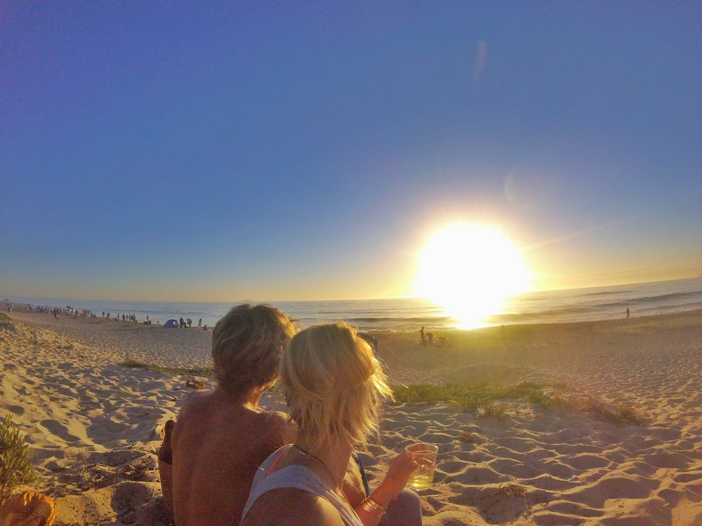 Sunset on the beach in Half Moon Bay