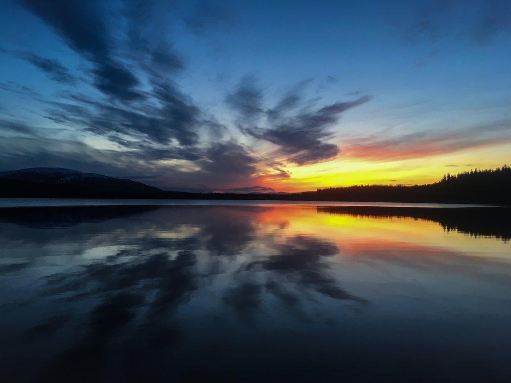 loch morlich at sunset, aviemore, cairngorms