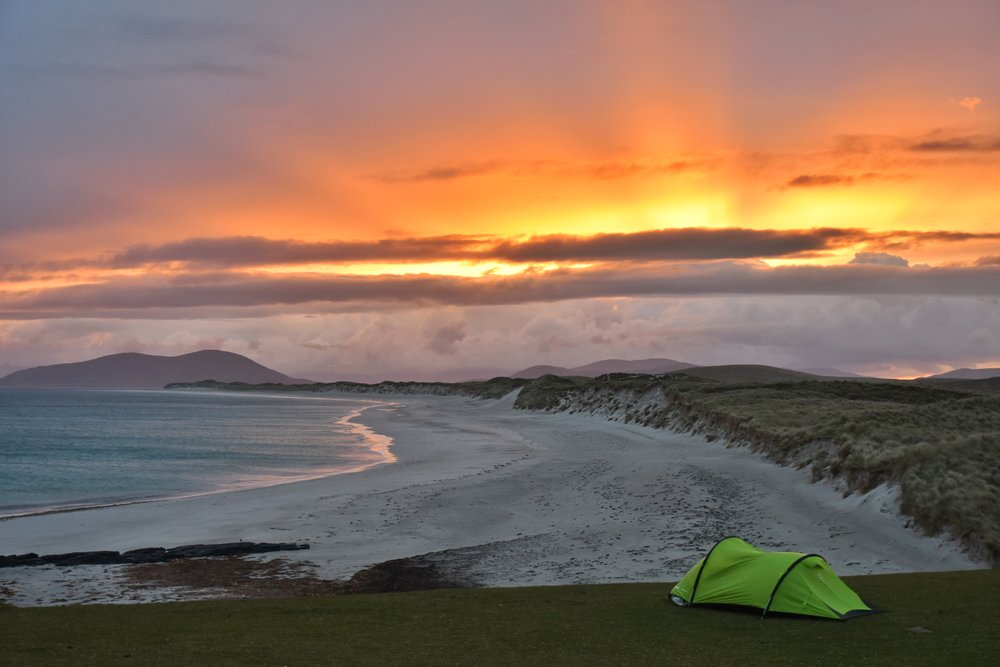 Wild Camping, Outer Hebrides, Scotland, Berneray Beach, Uist
